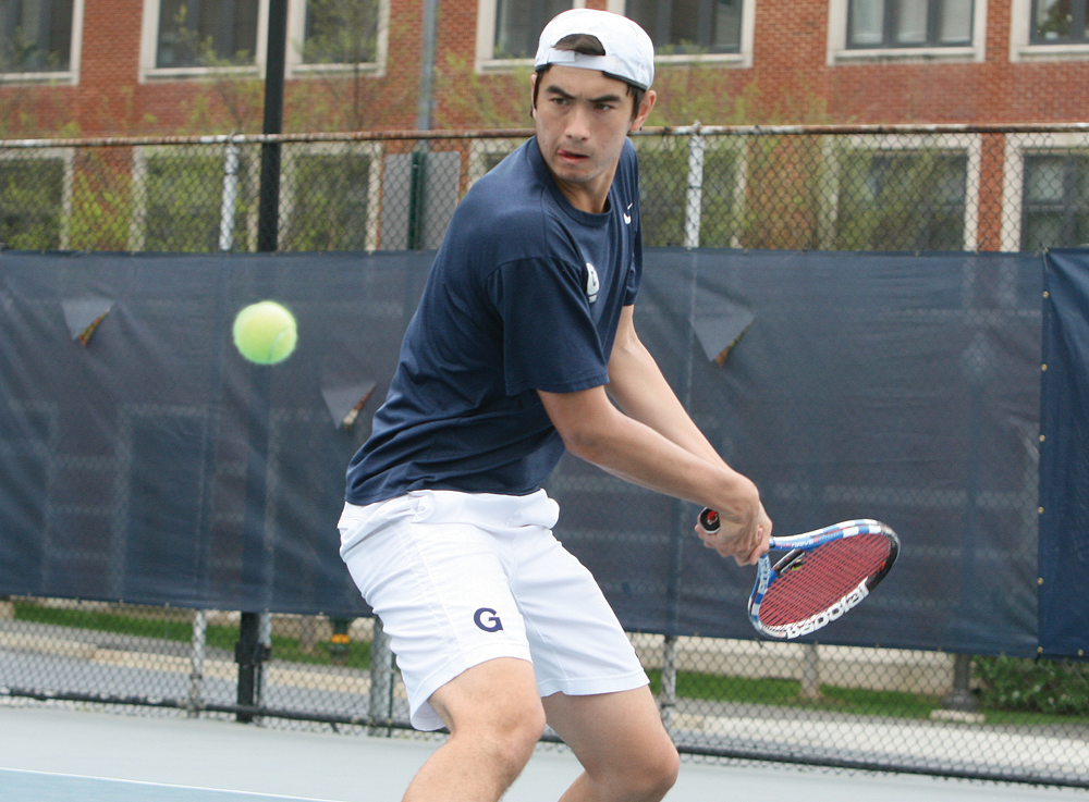 FILE PHOTO: CHRIS GRIVAS/THE HOYA Sophomore Casey Distaso and junior Charlie Caris (not pictured) won their doubles match against Stony Brook.
