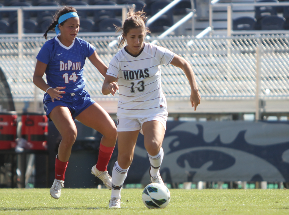 CHRIS GRIVAS/THE HOYA Sophomore forward Vanessa Skrumbis scored Georgetown's lone goal in the Blue and Gray's overtime win over DePaul Sunday.