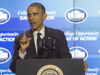 DANIEL SMITH / THE HOYA President Barack Obama spoke Thursday at the White House's College Opportunity Day of Action.