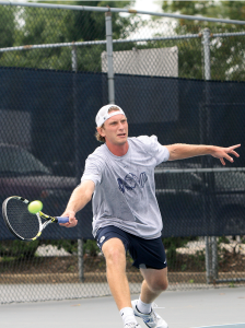 SARI FRANKEL FOR THE HOYA Andrew Bruhn starred for the men's tennis team at the Georgetown Classic, reaching the final of the singles draw before falling, 7-5, 7-5, to Maryland's David Nguyen.