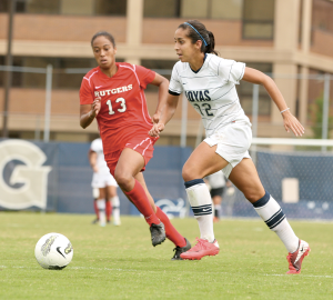 CHRIS BIEN/THE HOYA Senior Camille Trujillo scored three goals this weekend, bringing her season total to four after leading the team with 13 last year.