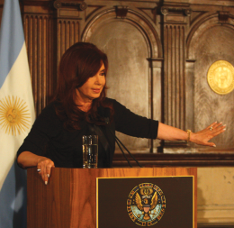 Argentinian President Cristina Fernández de Kirchner spoke in Copley Hall Wednesday.