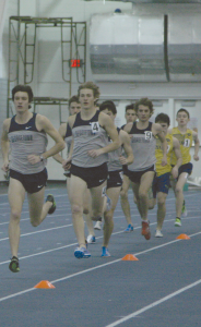 FILE PHOTO: SARI FRANKEL/THE HOYA Sophomore Max Darrah (4), shown at the Hoya Spiked Shoe Invitational, finished third in the 3K run at Penn State Nationals last weekend.
