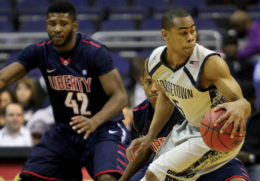 FILE PHOTO: RICHARD OLIVEIRA SOENS/THE HOYA Sophomore guard Markel Starks (right) led all scorers with 18 points Saturday afternoon.