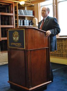 istine McGrath/The Hoya Sen. Chris Coons (D-Del.), chair of the Foreign Relations Subcommittee on African Affairs, talked U.S.-Africa relations Thursday in Riggs Library.