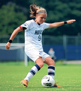 CHRIS BIEN/THE HOYA Redshirt senior midfielder Ingrid Wells has tallied 11 points this year, most on the team.