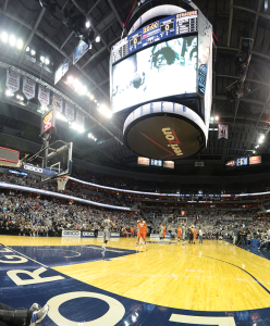 CHRIS BIEN/THE HOYA Starting this season, students will be able to take buses directly from campus to Verizon Center and use smartphones to enter the stadium.