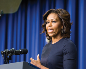 """ALEXANDER BROWN/THE HOYA President Obama and Michelle Obama promoted college affordability and the president's """"year of action"""" at a summit attended by DeGioia Thursday."""