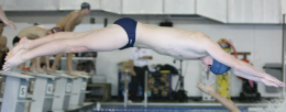 FILE PHOTO: CHRIS BIEN/THE HOYA The swimming and diving team scored well at a meet at James Madison last week.