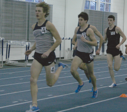 SARI FRANKEL/THE HOYA Sophomore Max Darrah (4) and junior Ben Furcht (3) compete at Friday's meet.