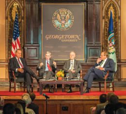 EUGENE ZONG FOR THE HOYA Former top defense officials discussed national security in Gaston Hall Wednesday.