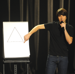 MOCKING THE MUNDANE Demetri Martin is known for his stage props, which usually include his 'Large Pad,' to unnecessarily clarify simple concepts. COMEDYCENTRAL.COM