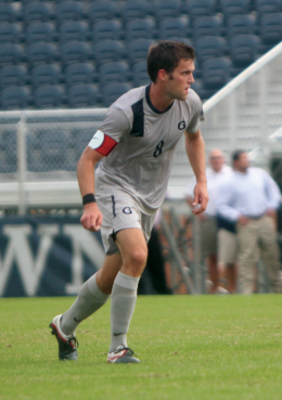 FILE PHOTO: CHRIS GRIVAS/THE HOYA Senior Tommy Muller has scored two goals for Georgetown this year but does almost all of his work on defense.