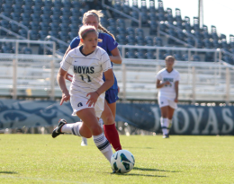 FILE PHOTO: CHRIS GRIVAS/THE HOYA Sophomore forward Jessica Clinton led Georgetown with a game-high and career-high seven shots in the Hoyas 1-0 defeat at Villanova.