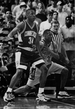 FILE PHOTO/THE HOYA ARCHIVES ANYTHING YOU CAN DO ... High-scoring guards Ray Allen (left) and Allen Iverson (right) battled for Big East supremacy in the 1995-96 season.