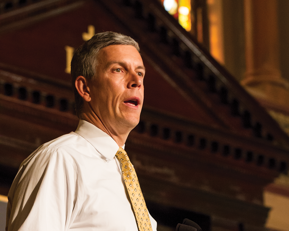 ALEXANDER BROWN/THE HOYA U.S. Secretary of Education Arne Duncan was among speakers at the president's Interfaith and Community Service Campus Challenge on Tuesday, held at Georgetown for the first time this year.