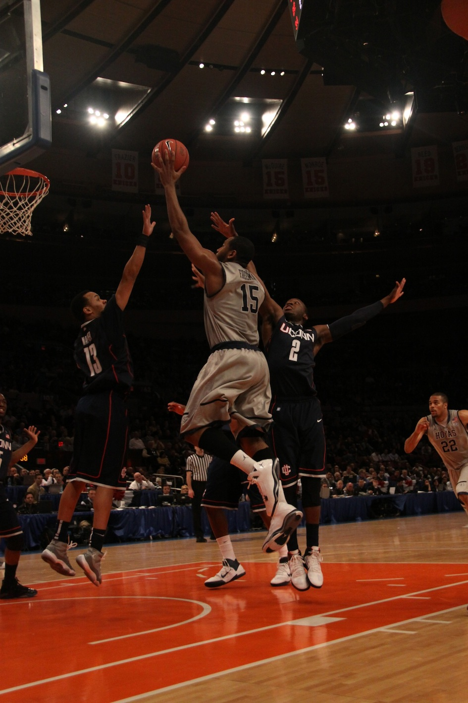 HENRI CARLO SANTOS/THE HOYA Senior guard Austin Freeman scored 20 points in the Hoyas' 79-62 loss to UConn. Wednesday afternoon's defeat eliminated Georgetown from the Big East tournament.