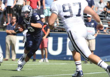 FILE PHOTO: CHRIS GRIVAS/THE HOYA Senior wide receiver Max Waizenegger (3) has had five receptions for 55 yards so far this season.