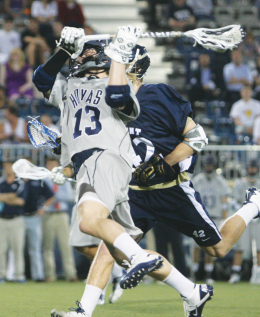 Junior midfielder Brian Casey scored the game-winning goal in Georgetown's 10-9 comeback win over Mount St. Mary's Tuesday night. CHRIS GRIVAS/THE HOYA