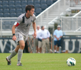 FILE PHOTO: CHRIS GRIVAS/THE HOYA Senior defender Tommy Muller netted the opening goal in the No. 10 Hoyas' 2-1 win over No. 4 Marquette Saturday