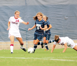 FILE PHOTO: CHRIS BIEN/THE HOYA  Sophomore midfielder Daphne Corboz had one goal and one assist Sunday.