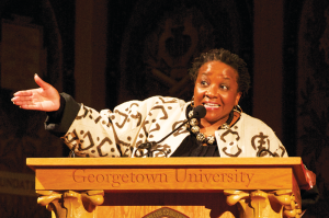 MICHELLE XU/THE HOYA Naomi Tutu, human rights activist and daughter of Archbishop Desmond Tutu, was among a number of speakers for the first annual Winter Confluence for freshmen, held Jan. 7 in Gaston Hall.