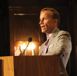 CLAIRE SOISSON/THE HOYA Keynote speaker Mark Dybul emphasized the importance of immediate action against HIV/AIDS, malaria and other similar diseases during a panel on worldwide epidemics in Copley Formal Lounge on Wednesday.