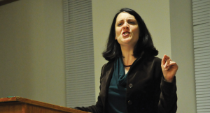OLIVIA HEWITT/THE HOYA Rabbi Rachel Gartner, director of Jewish Chaplaincy, outlined the complex challenges of interpreting Jewish religious texts on Tuesday.