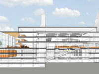 The university is looking toward Lauinger Library and Reiss Science Building in its master planning. Renovations to Lauinger, with a projected completion date 10 years away, would include a reading room with two stories of glass windows and the relocation of Midnight MUG to the fourth floor. A sky bridge may connect Reiss to Regents Hall. COURTESY BOWIE-GRIDLEY ARCHITECTS