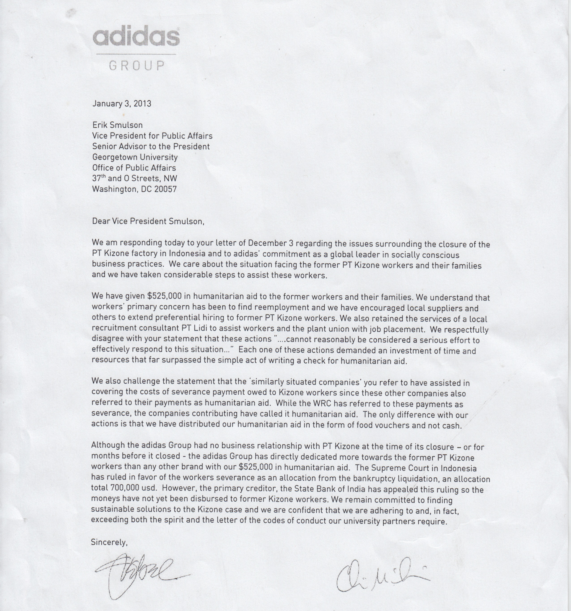 GU Cancelled Contract Despite Adidas' Assurances