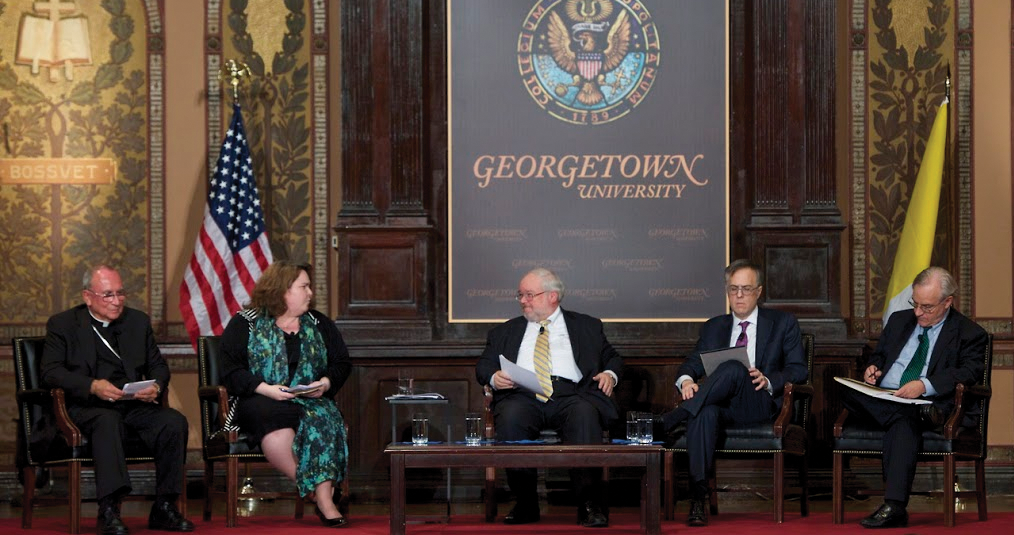 From left to right: Bishop Steven Blaire, Kathryn Jean Lopez, moderator John Carr, Michael Gerson and E.J. Dionne. COURTESY GEORGETOWN UNIVERSITY