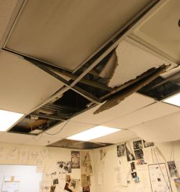 Chris Bien/The Hoya Students damaged The Hoya office's ceiling while evading DPS