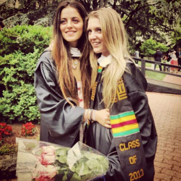 Bess Rosenzweig, right, with Amy Lewis (COL '13) at commencement in May. Photo taken from Facebook.