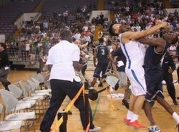 COURTESY SINA.COM The melee swept through the court in Beijing on Thursday night, Chinese time, as the Hoyas and Rockets were tied in the fourth quarter.
