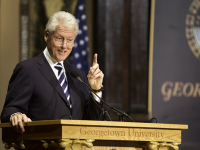 "LEONEL DE VELEZ/THE HOYA President Bill Clinton (SFS '68) is set to return to Gaston Hall for the fourth installment of his ""Clinton Lectures"" series."