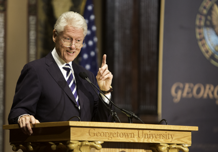 Clinton Pushes Public Service, NGOs