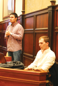 KAYLA NOGUCHI/THE HOYA GUSA Vice Speaker Sam Greco (SFS '15), right, lost his bid for speaker Sunday in an unexpected election whose validity is under question.