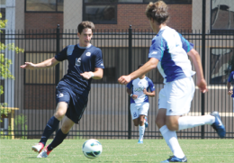 CHRIS GRIVAS/THE HOYA Senior defender Jimmy Nealis is the anchor of Georgetown's defense.