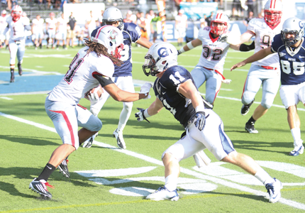 FILE PHOTO: LEONEL DE VELEZ/THE HOYA Junior defensive back Dustin Wharton, shown here against Brown, had 11 tackles in Georgetown's loss to Fordham Saturday.