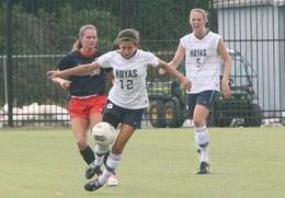 FILE PHOTO: SARI FRANKEL/THE HOYA Freshman midfielder Marina Paul (5) had an assist in Georgetown's 2-0 win over GW.
