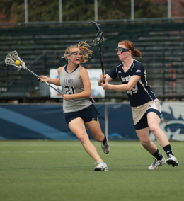 CHRIS BIEN/THE HOYA Sophomore midfielder Hannah Franklin scored two goals in Georgetown's 7-6 double-overtime loss to Notre Dame.