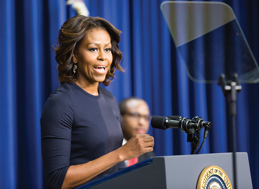 ALEXANDER BROWN/THE HOYA First lady Michelle Obama speaks at the Jan. 16 College Opportunity Summit at the White House, where she highlighted the need for lower-income students to apply to college to secure international competitiveness.