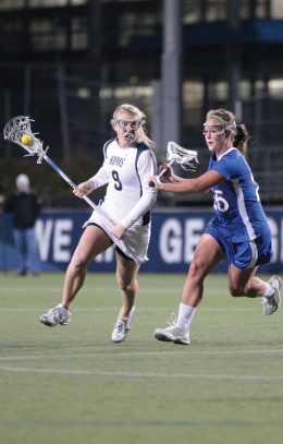 FILE PHOTO: CHRIS BIEN/THE HOYA Junior midfielder Kelsi Bozel is third on the team with 32 points.