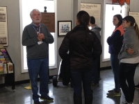 SEAN SULLIVAN/THE HOYA Students learn about the history of industry in Appalachia as part of their Alternative Spring Break trip to Pulaski, Va.