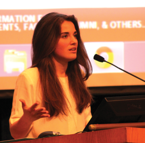 """CHARLIE LOWE/THE HOYA Ukrainian activist Yulia Marushevska, who became a symbol of the Euromaidan protests with her appearance in the viral """"I Am A Ukrainian"""" video, spoke Tuesday in ICC Auditorium about her experience and hopes for her country."""