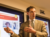 ALEXANDER BROWN/THE HOYA Ambassador Mark Lagon discussed the ethical use of drones by the U.S. in Asia as part of the School of Foreign Service's Drone Awareness Project on Tuesday in the Intercultural Center.