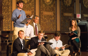 """NATASHA THOMSON/THE HOYA Academy award nominee David Strathairn acted as Jan Karski alongside an ensemble of students in a staged reading of """"Remember This: Walking with Karski"""" in Gaston Hall on Thursday evening."""