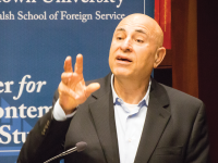 DANIEL SMITH/THE HOYA Saleh Abdel Jawad spoke about Palestinian perceptions of the Ottoman Empire during WWI on Monday as part of the Middle East Lecture Series.