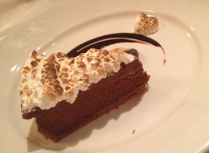 JULIE MCCRIMLISK/THE HOYA Woodward Table offers an extensive menu with savory and sweet options to satisfy everyone's personal preferences. The s'mores cheesecake is a delicious indoor take on the classic campfire favorite.