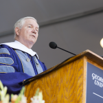 ALEXANDER BROWN/THE HOYA Former Secretary of Defense Robert Gates (GRD '74) spoke at the SFS commencement ceremony.